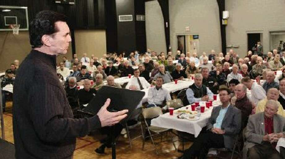 A near-capacity crowd turned out to hear former mob boss Michael Franzese, of the Columbo crime family, speak at the Men's Power Lunch at First Baptist Church of Conroe Monday.