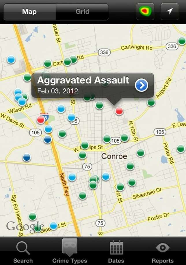 This screenshot of the RAIDS Online Mobile app shows a map of the crimes in Conroe during the last two weeks. Users can click on the dots to reveal the type of crime and click the arrow for more information such as location, time and incident number.