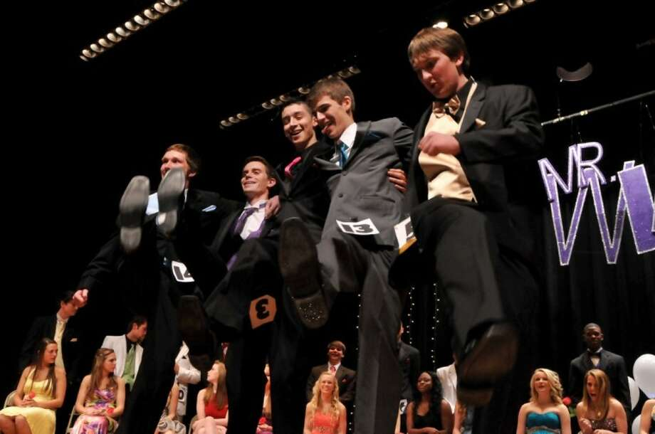 The five finalists in the Mr. Wildkat Pageant, pictured from left, Mitchell Kight, Thomas Malone, Mauro Barerra, Brandon Dodd and Colt Baldridge, ease their tension Feb. 4 as they wait on the pageant's results. Photo: Courtesy Photo