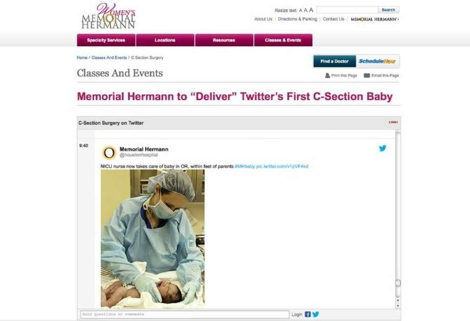This screen grab courtesy of Women's Memorial Hermann Hospital shows an online broadcast of live text updates, close-up pictures and video clips of what happens during a Caesarean section Wednesday in Houston. Photo: HOEP