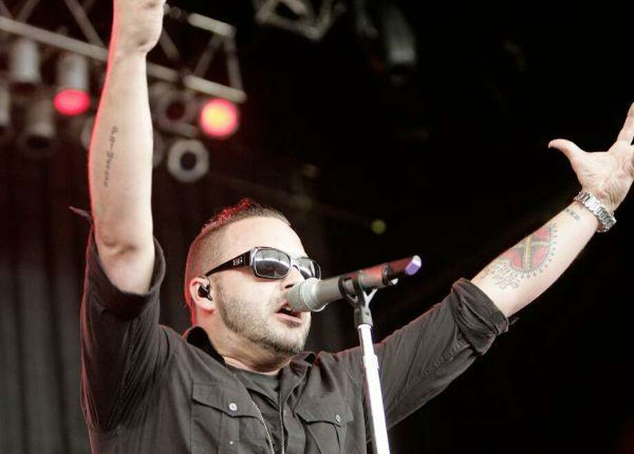 Blue October frontman and lead singer Justin Furstenfeld performs in front of a sold-out crowd Sunday, May 10 at BuzzFest XXII at The Cynthia Woods Mitchell Pavilion in The Woodlands. The event featured 14 bands including Korn, 311, Papa Roach, Blue October, Theory Of A Deadman, Toadies, Shinedown, Red Jumpsuit Apparatus, 10 Years and Hoobastank.