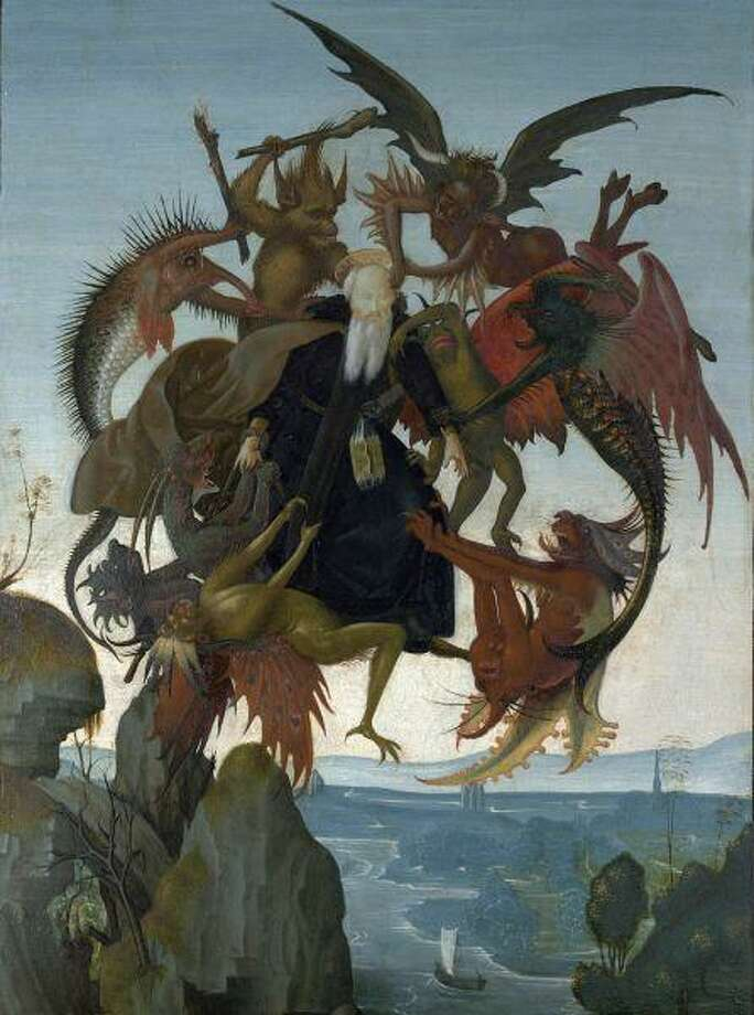 "This image provided Wednesday by the Kimbell Art Museum in Fort Worth shows the 1487 oil and tempera painting on a wood panel ""The Torment of Saint Anthony"" by Michelangelo, believed to be his earliest known work. The Kimbell will be the first U.S. museum to display a Michelangelo painting after it acquired the rare piece. / The Kimbell"