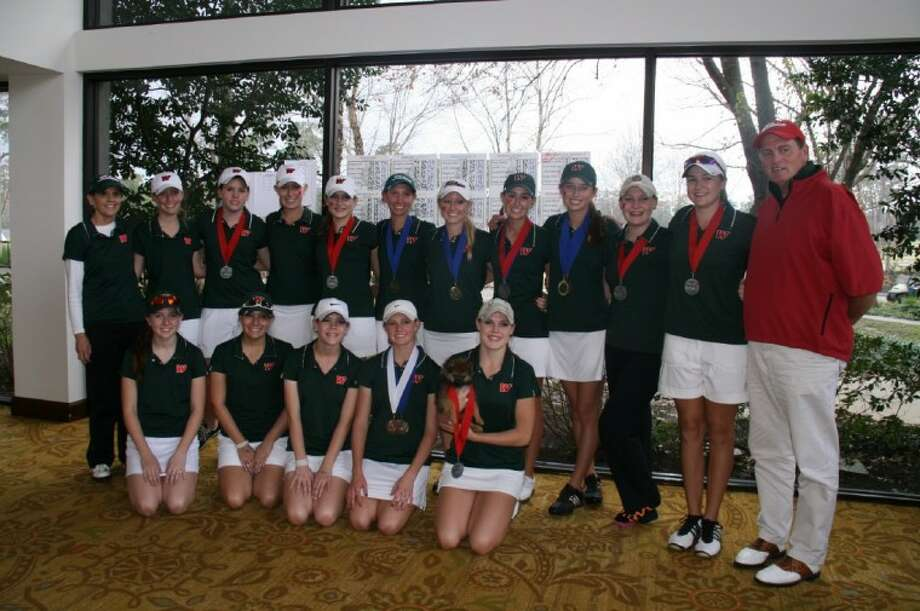 The Woodlands girls golf team poses after the Lady Highlanders' three teams finished first, second and ninth at the Vern Edwards Memorial Golf Tournament at The Woodlands Country Club on Jan. 16-17.