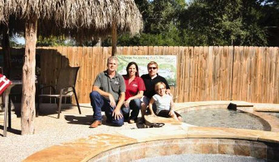 "Partners in the new SwimNow pool company opening this week are, from left, Rick and Cheryl Kuykendall, of Mirage Custom Pools, and Bill Klein and Jen Arnold, reality television stars of ""The Little Couple."""