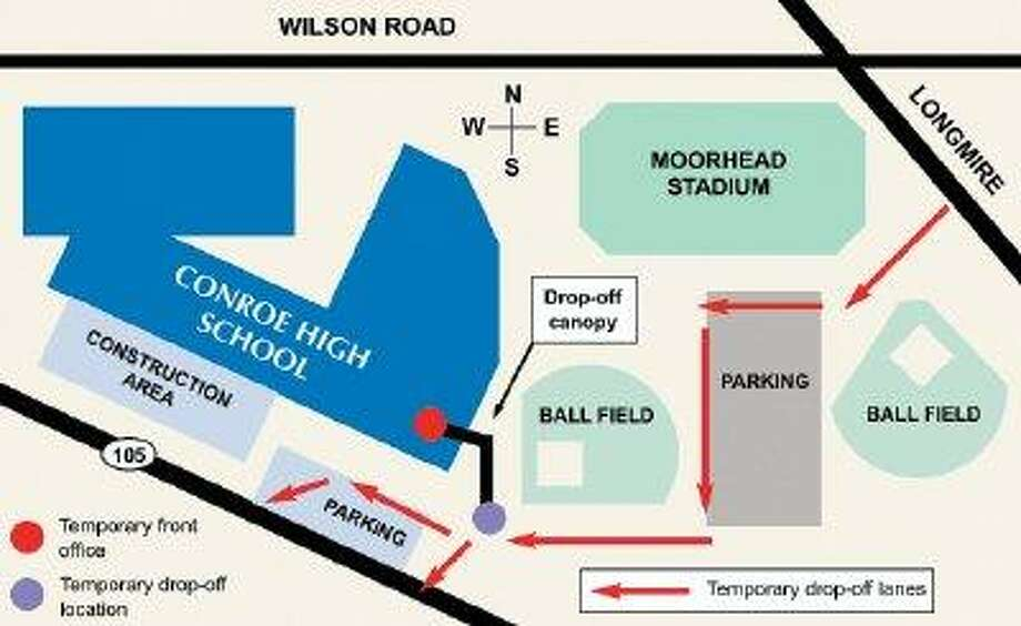 As construction crews renovate the front of Conroe High School, the main entrance will be temporarily relocated to the old band hall with drop-off and pick-up routes winding to it through the southeast parking lot. Construction is scheduled to begin Thursday and expected to continue through the rest of the school year.