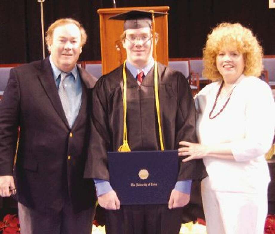 Matthew Best, center a 2008 graduate of Montgomery High School, recently graduated magna cum laude from The University of Tulsa with a Bachelor of Science degree in Computer Science. He is pictured with his parents, Bob and Linda Best, of Bentwater.