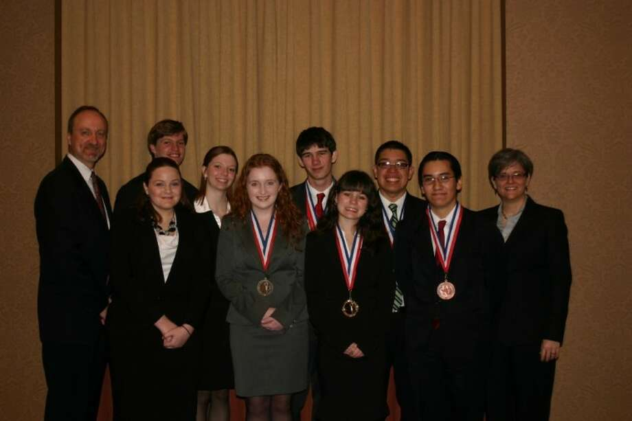 The New Caney Academic Decathlon team completed another successful year by following up its Regional Championship in January by placing fifth at the State Finals Tournament in San Antonio. This year's team marks the 16th straight trip to the State Finals tournament representing either Class 4A or 5A. This year's all-senior team members include Angel Fuhre, Darah Vann, Casey O'Hare, Gilberto Ramirez, Edgar Garcia, Jesse Johnson, Amber Yates and Tim Orr. Outstanding coaching was provided by Lauri Stephenson, Courtney Ieva and Jim Moore.