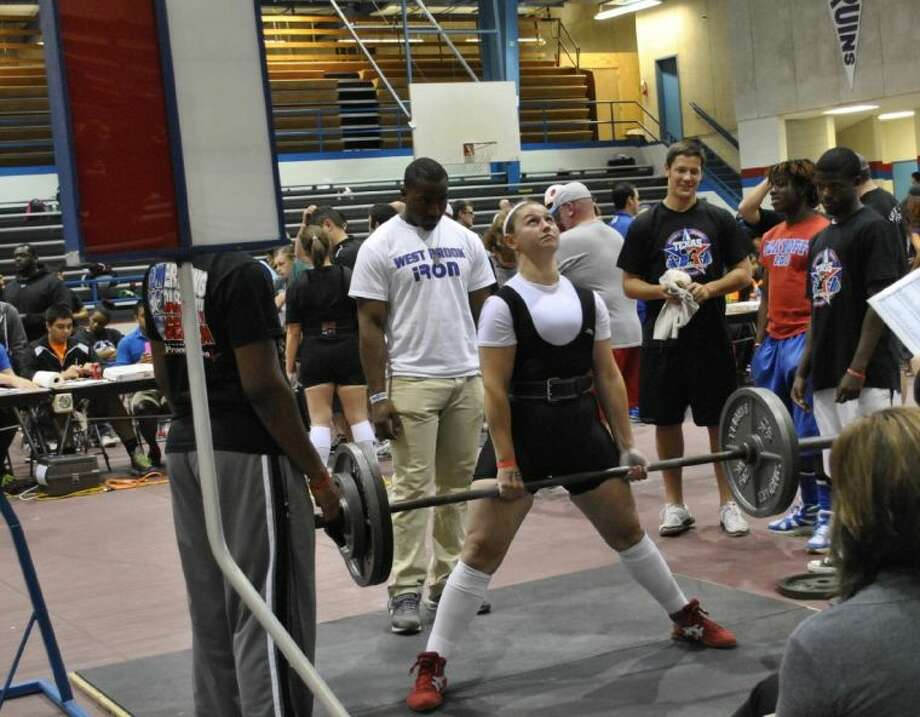 Caney Creek junior Lorraine Negrini finished fourth in the Region IV Division I Powerlifting Championships with a total weight of 750 pounds, a personal record. Photo: Picasa