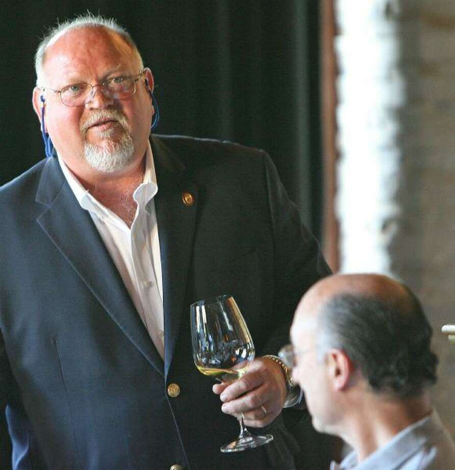 Master Sommelier Guy Stout leads a class on wine at Kirby's steakhouse in The Woodlands Tuesday night kicking off Wine and Food Week.