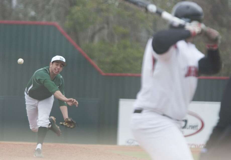 The Woodlands' Joustine Rivera pitches against Langham Creek at Scotland Yard on Saturday. Photo: Karl Anderson
