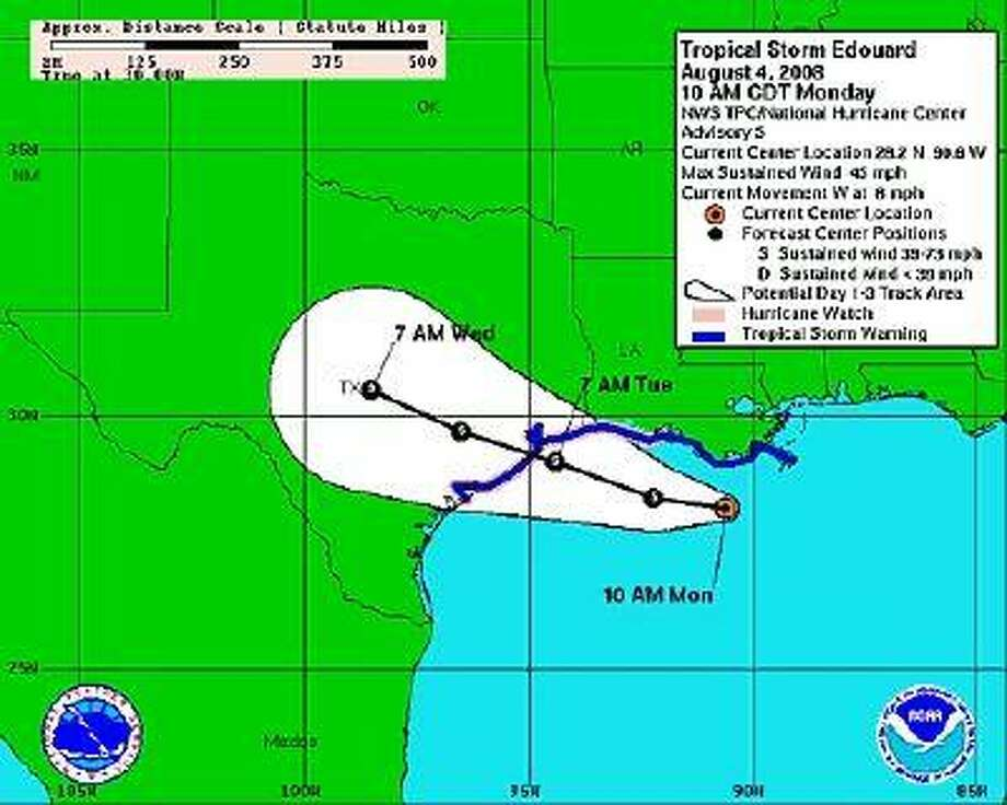 The map from the National Oceanic and Atmospheric Administration website, www.noaawatch.gov, shows the projected path of Tropical Storm Edouard, sheduled to make landfall Tuesday morning.