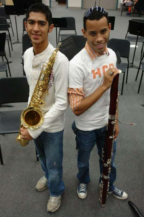 Aaron Atkinson, left, and Darren Cadiz, both Willis High School seniors, are among the 29 Montgomery County students who will perform Feb. 13 as part of the All-State Bands, Choirs or Orchestras during the Texas Music Educators Association convention in San Antonio.