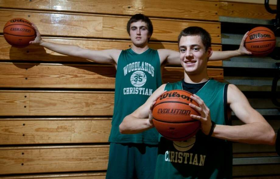 The Woodlands Christian Academy junior forward James Bento, foreground, and senior center Darby Dewine have played pivotal roles as the Warriors have advanced to their fifth state tournament in six seasons.