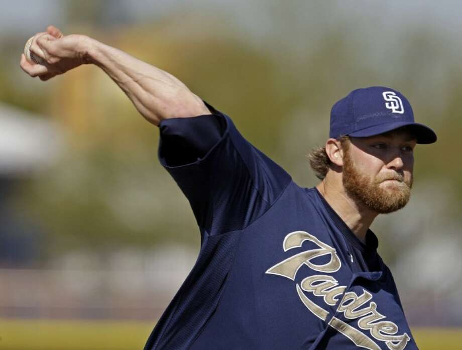 San Diego Padres pitcher Andrew Cashner throws during baseball spring training Monday, Feb. 27, 2012, in Peoria, Ariz. Photo: Charlie Riedel
