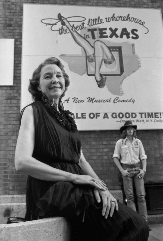 """This 1978 photo shows Edna Milton Chadwell posing outside of the Broadway Theater where she was appearing in the musical based on her past, """"The Best Little Whorehouse In Texas."""" Photo: RP"""