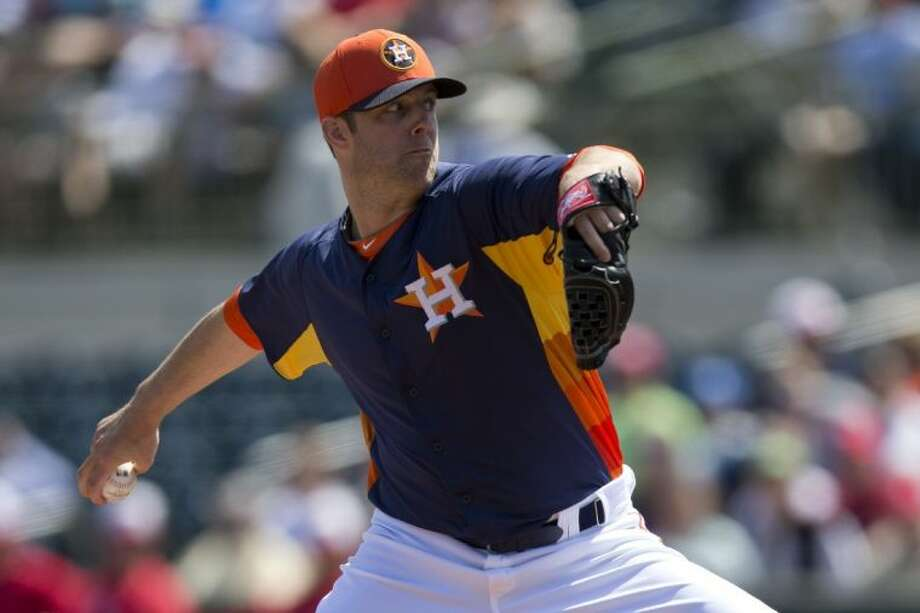 Pitcher Jordan Lyles and the Houston Astros play the Texas Rangers 19 times this season. The same goes for the other three new American League West rivals: the Los Angeles Angels of Anaheim, Oakland Athletics and Seattle Marines. Photo: Evan Vucci