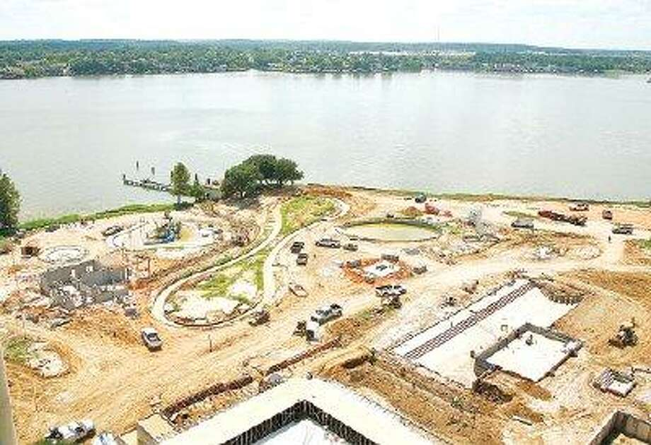 Construction crews are working overtime to complete the $130 million property renovation of La Torretta Del Lago in time for its October opening. Officials say the new aqua park, the property's new recreational amenity featured here, will be ready next month.