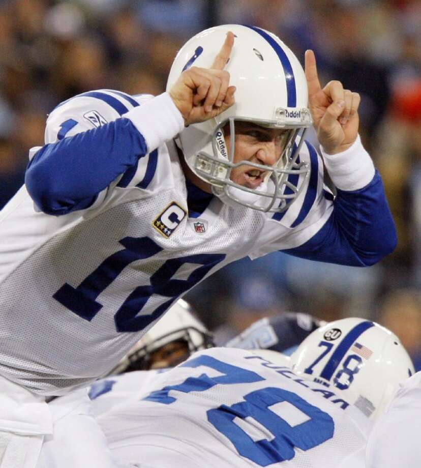 Indianapolis Colts quarterback Peyton Manning calls a play against the Tennessee Titans in the first quarter of an Oct. 27, 2008, game in Nashville, Tenn. Photo: Bill Waugh