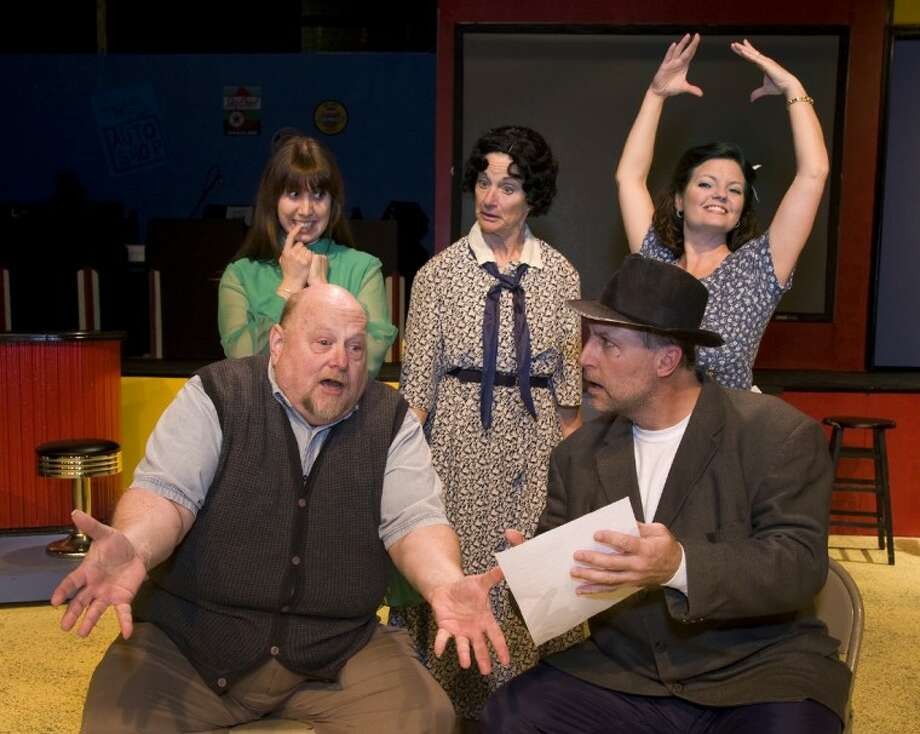 "Bottom row, ""Grandpa"" played by Quint Bishop and Joe Witcraft as Mr. Henderson. Top row from left, Natalie Hernandez as Alice, Marilyn Moore as Penelope Sycamore and Cristy Campobella as Essie Carmichael in Crighton Players' ""You Can't Take It With You"" which opens tonight at the Owen Theatre."