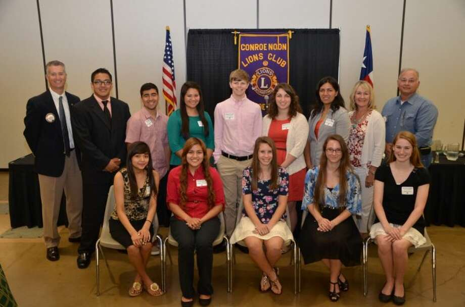 This year, the Conroe Noon Lions Club presented $22,000 in scholarships to Conroe High School and Covenant Christian School seniors. Some of those students are pictured: Back row, left to right, Club President Rich Sproba, Javier Perea, Matt Gonzalez, Catalina Morales, Grant Hallbauer, Makenzie Rankin, Sonali Aggarwal, Lion Gail Cain, Lion Donnie Cates; front row, left to right, Brenda Benitez, Stephanie Munoz, Sara Oatman, Janelle Schwarz and Geneva Clark.
