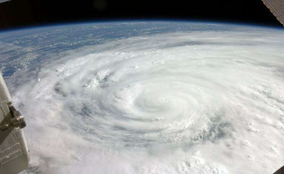 This image taken Tuesday Sept. 9, 2008 from the International Space Station and provided by NASA shows Hurricane Ike in the Gulf of Mexico closing in on the Texas coast. / AP2008