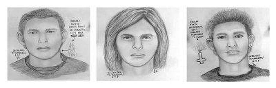 This combo of three sketches provided the Bureau of Alcohol, Tobacco, Firearms and Explosives via KLTV Friday in Tyler shows the three persons of interest in a string of Texas church fires. / AP2010