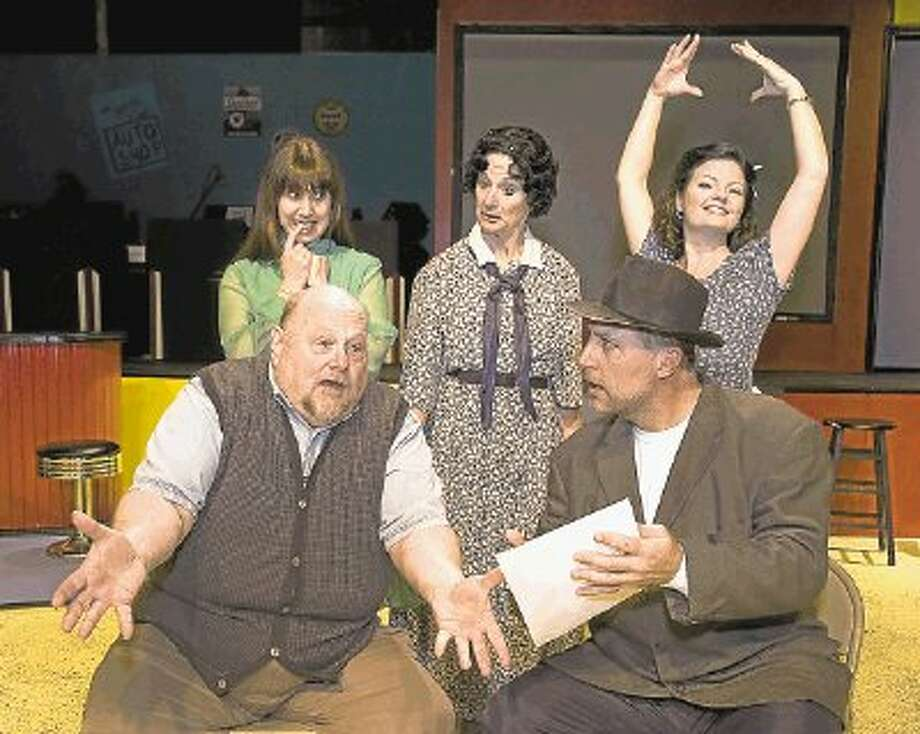 "Bottom row, ""Grandpa"" played by Quint Bishop and Joe Witcraft as Mr. Henderson. Top row from left, Natalie Hernandez as Alice, Marilyn Moore as Penelope Sycamore and Cristy Campobella as Essie Carmichael in Crighton Players' ""You Can't Take It With You"" which continues this weekend at the Owen Theatre. / @WireImgId=2565272"