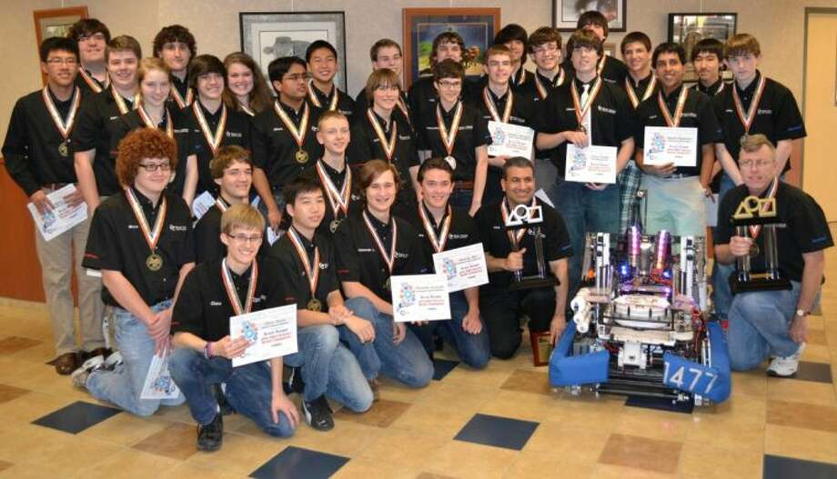 Members of the World Champion Texas Torque 1477 Robotics team include high school students Austin Bae, Matthew Bartell, Tommy Brown, Stanley Chan, Keene Chin, Alexander Choi, Anurag Choudhury, Roberto Dailey, Aaron Graeve, Bradley Holloway, Grant Jacobsen, Vaishu Kishore, Bryce Kopankiewitz, Vikram Krishnan, Gijs Landwehr, Daniel Latypov, Jacob Lubecki, Nicholas McCoy, Eric Menees, Nick Morales, Chase Noren, Humphrey Obuobi, Luben Popov, Shyam Raghavan, Connor Smith, Dana Steiner, AnneClaire Wageman, Caroline Wageman, Shray Mittal, Sheila Berenji-Jalaei, Jiajie Chen, Alexander Lewoczko, Grant Moore, Arthur Saunier, Henning Skau, Jeffrey Zhang, Jay Montano, Taylor Brown, Chance Gristy, Chris Billetdeaux, Mason Becker, Josh Beridon, Kolton Coats, Robert Oakley, Brian Wang and Zack Winkel. Mentor teachers are The Woodlands College Park Teacher Scott Rippetoe and The Woodlands High School Matt Davies.