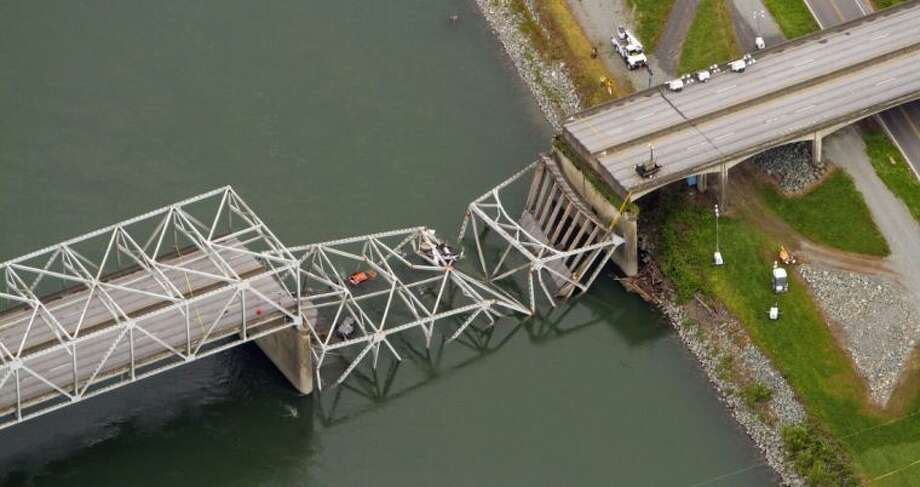 A collapsed section of the Interstate 5 bridge over the Skagit River is seen in an aerial view Friday. Photo: Mike Siegel