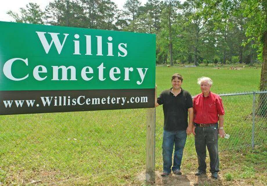 Willis resident Wade Paddock (left) and his father, Mel, are reaching out to the community to help keep the cemetery clean.