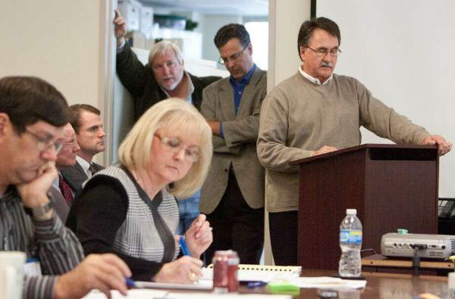 Conroe Mayor Webb K. Melder speaks to members of the Lone Star Groundwater Conservation District board Tuesday. / The Courier