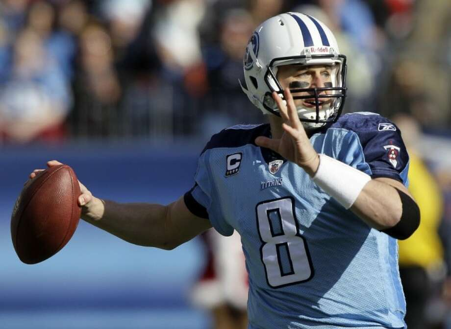 FILE - In this file photo, Titans quarterback Matt Hasselbeck passes against the Jaguars in a game in Nashville, Tenn. The Titans lost out on the Peyton Manning sweepstakes Monday.  Photo: Wade Payne
