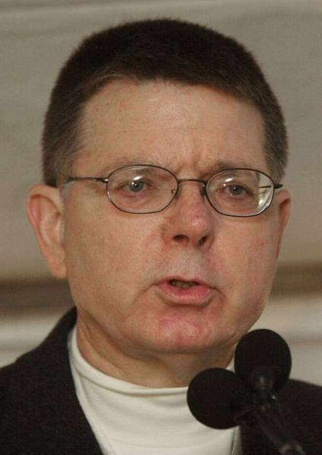 This Jan. 19, 2002, file photo shows Dr. George Tiller speaking to a small group during a rally at Tiller's clinic in Wichita, Kan. / AP