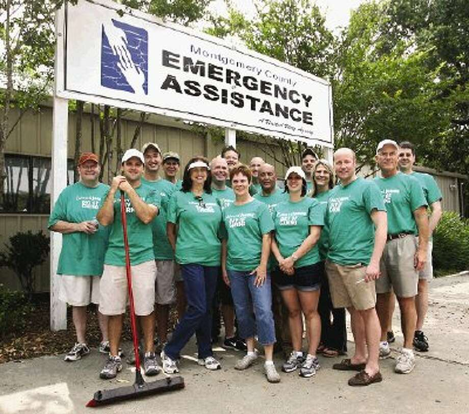 Volunteers with Edward Jones spent a full day of work helping fix up the facilities at Montgomery County Emergency Assistance..