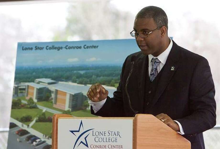 Dr. Austin A. Lane, president of Lone Star College-Montgomery, speaks during the groundbreaking ceremony for the Lone Star College-Conroe Center Friday in Conroe. / The Courier