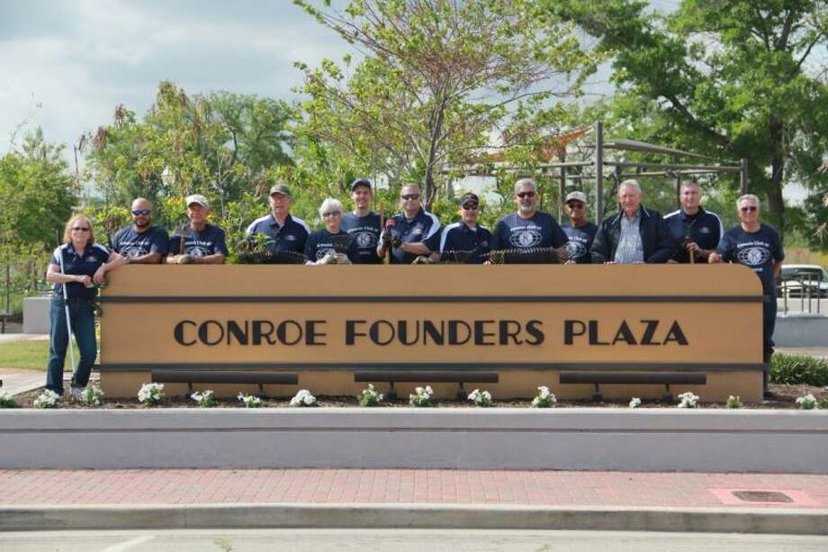The Conroe Noon Kiwanis Club recently gathered at Founds Plaza to remove trash, weed plant beds, power wash and more.