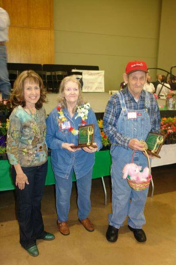 Thelma Willis, center, and Joe Baxter, both of Woodland Manor Nursing Home, were named king and queen of nursing homes Tuesday during Seniors Citizens Day at the 52nd annual Montgomery County Fair.