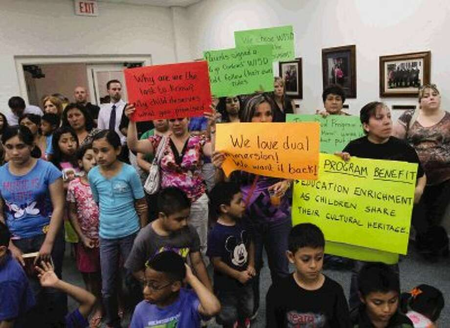 Parents and children spoke in support of the Willis ISD's Dual Language Program during the public comment session of Wednesday night's board meeting. Photo: Staff Photo By Jason Fochtman / Conroe Courier