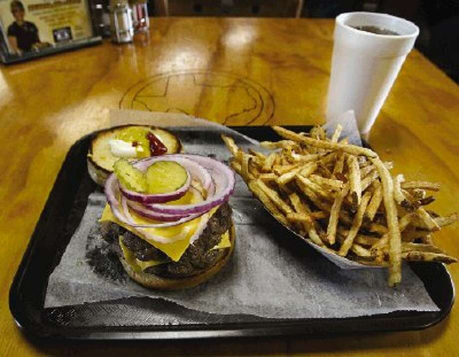 The double-meat cheeseburger basket is big enough to satisfy the biggest carnivore appetite.