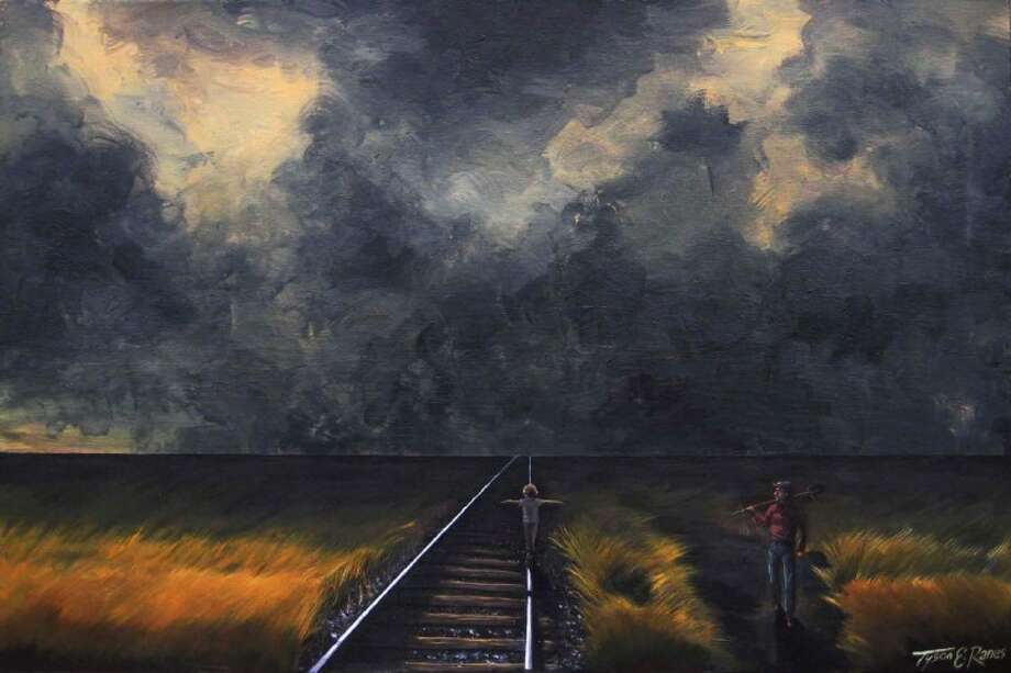 "Pictured is an acrylic painting titled ""The Passing of Time,"" by new Conroe artist, Tyson Ranes. His painting is currently on display at The Linda Watson Gallery."