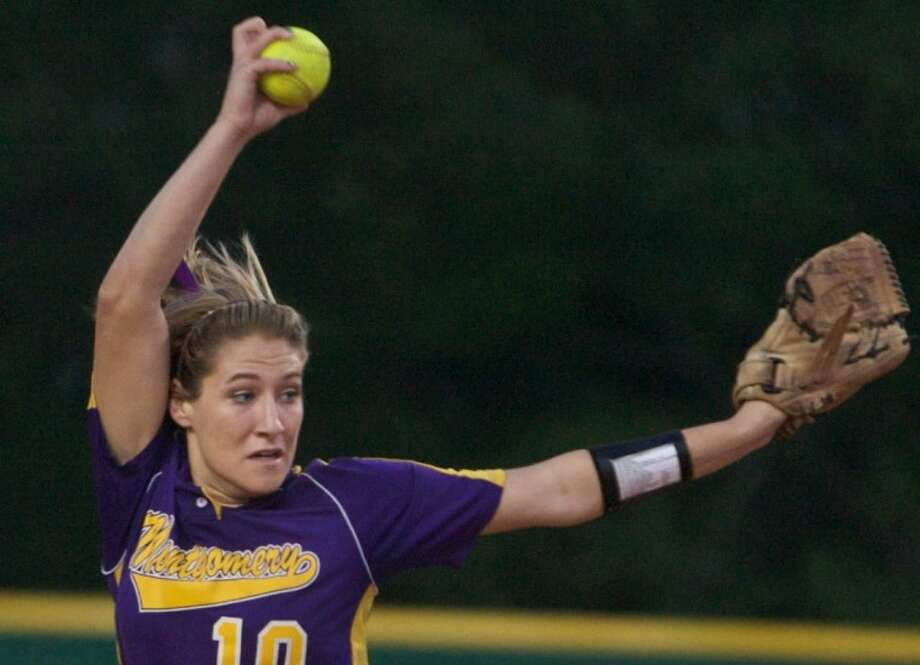 Montgomery's Katelyn Sanders fires off a pitch during Friday night's game against Stratford. Photo: Staff Photo By Eric S. Swist