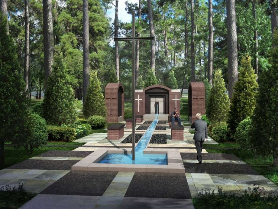 An artist's rendering shows the path to the columbarium at Christ Church United Methodist in The Woodlands. The plans for the structure have yet to be approved by the Design Standards Committee.