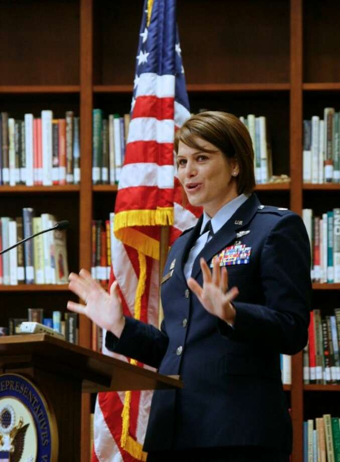 United States Air Force Lt. Col. D'Anne Spence speaks to military academy appointees about what to expect during the Academy Sendoff Breakfast Saturday morning at The Woodlands United Methodist Church. Photo: Staff Photo By Eric Swist