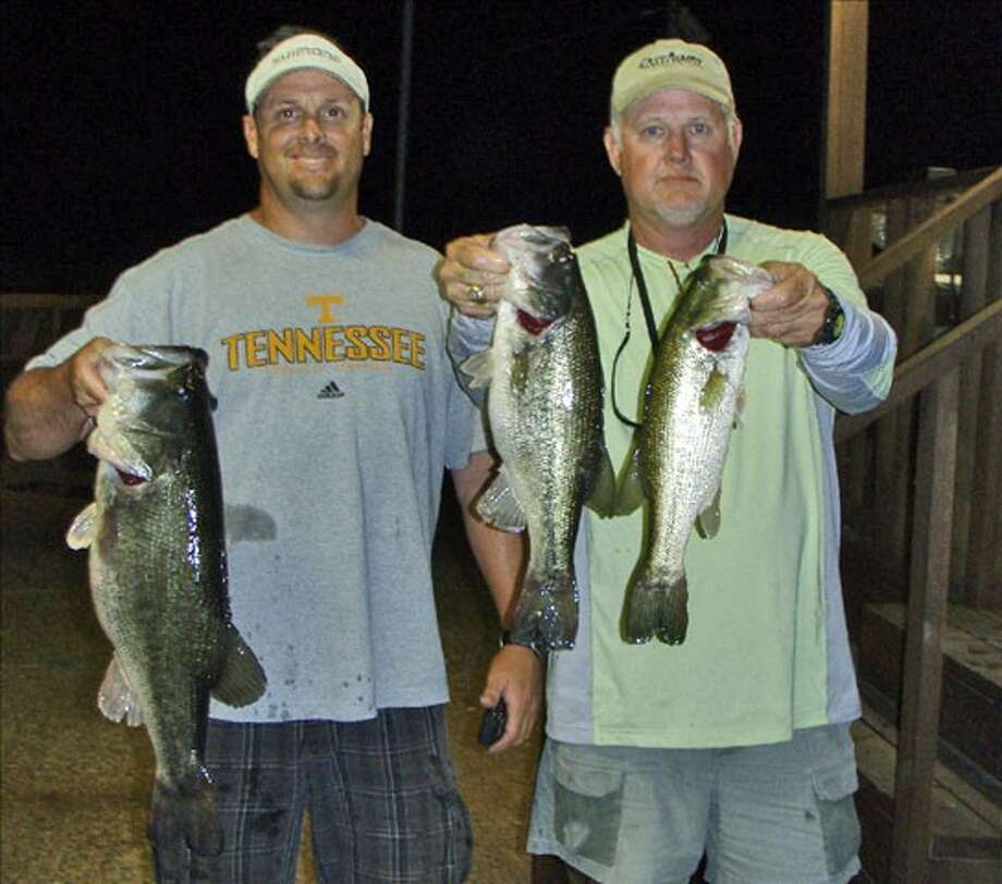 Randy Gunter and Mike Miles had first place in the Conroe Bass Tuesday Night Tournament weighing 15.12 pounds.