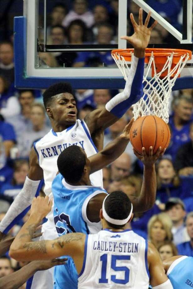 Kentucky's Nerlens Noel, top, is a possible first-round pick in Thursday's NBA Draft. Photo: James Crisp