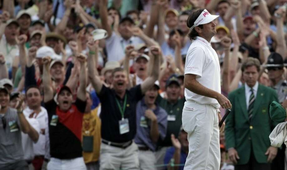 Bubba Watson reacts after winning the Masters golf tournament following a sudden death playoff on the 10th hole Sunday, in Augusta, Ga. Photo: Chris O'Meara