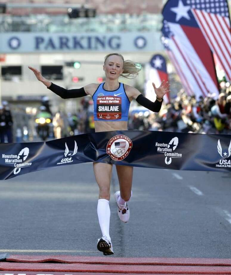Shalane Flanagan, here winning the U.S. Olympic trials for the marathon in Houston, is expected to be a contender in Monday's running of the Boston Marathon. Photo: David J. Phillip