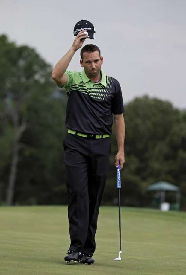 Sergio Garcia acknowledges the crowd after opening the Masters with a 66. Photo: Darron Cummings