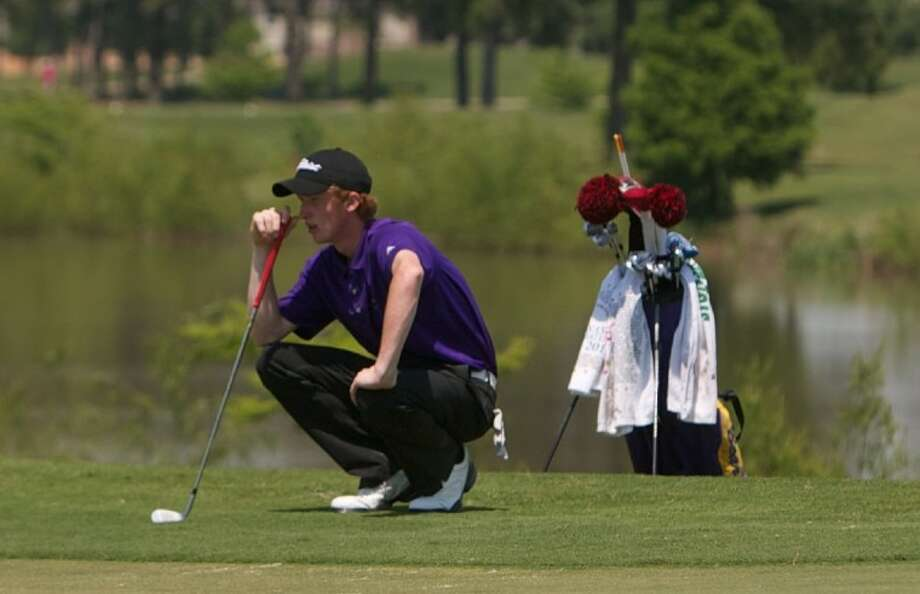 Montgomery's Ryan Beatty contemplates his putt on the 18th hole during the final round of play in Tuesday's District 17-4A tournament at Cypress Lakes Golf Course in Houston. Photo: Staff Photo By Eric S. Swist
