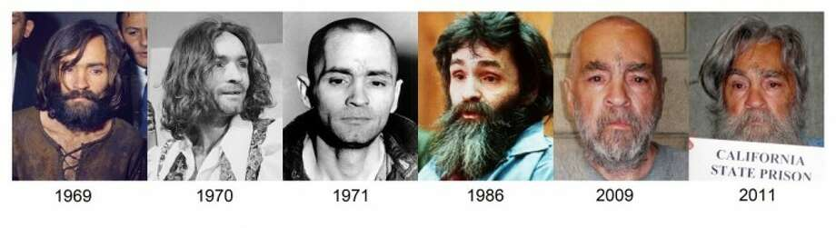 This file combo of photographs shows how Charles Manson has looked over the years from 1969 up to the most recently released photo in 2011. Photo: Anonymous